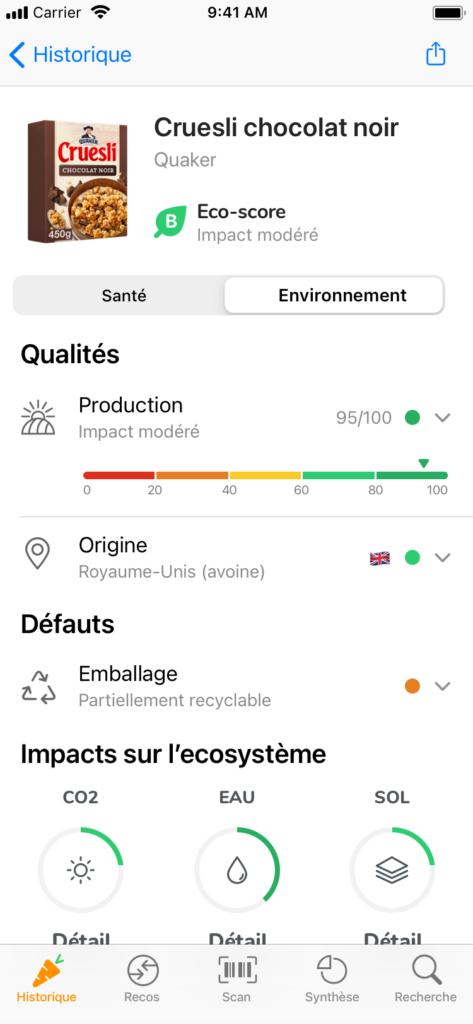 Exemple d'eco-score sur l'application Yuka